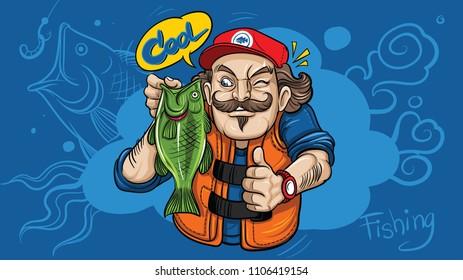 Happy fisherman character hold black bass fish . Vector cartoon illustration