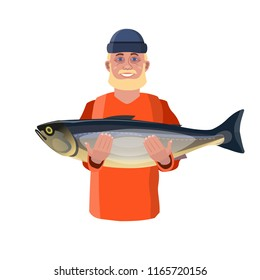 Happy fisherman showing big fish. Vector illustration isolated on white background