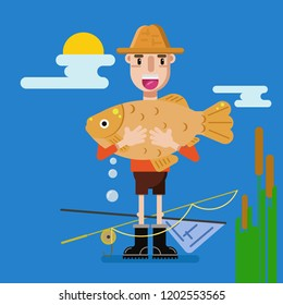 Happy fishman holds fish. Vacation flat fisher catch concept, man active hobby character design