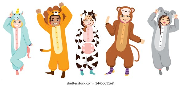 Happy five people wearing animal onesie costume on Halloween pajama party celebration