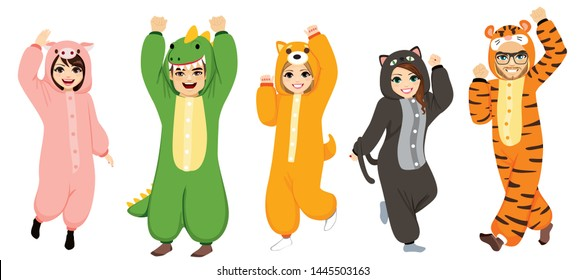 Happy five people wearing funny animal onesie costume celebrating Halloween pajama party
