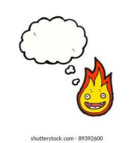 happy flame cartoon character