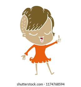 happy flat color style cartoon girl
