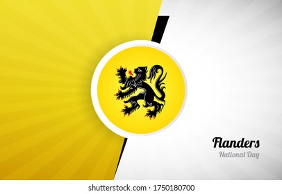 Happy flemish national day of Flanders greeting background. Abstract Flanders country flag illustration