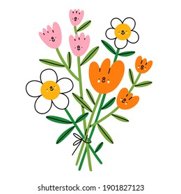 Happy flower characters bouquet, vector illustration with cartoon colorful flowers, isolated on white background