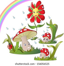 happy flower dancing in the rain and a mushroom family laughing under the rainbow