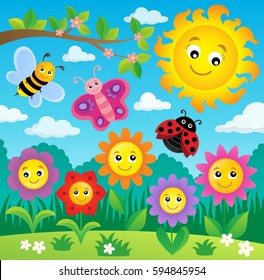 Happy flowers topic image 3 - eps10 vector illustration.