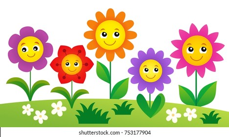 Happy flowers topic image 4 - eps10 vector illustration.