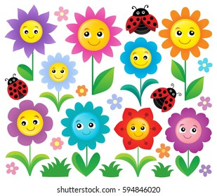 Happy flowers topic set 1 - eps10 vector illustration.