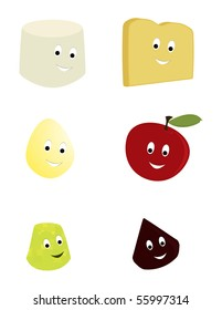 Happy food characters - vector