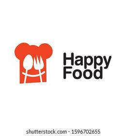 Happy Food logo icon designs template elements