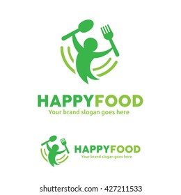 Happy Food Logo, People with Fork and Spoon Logo