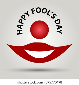Happy Fool's Day. Clown's mouth and nose