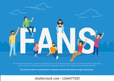 Happy football world cup fans watch a game online sitting on big letters. Flat people using laptop and smartphone for watching football championship games gesturing hands up and joying the winner.