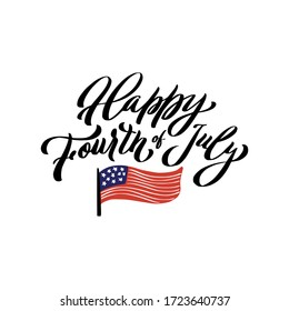 happy Forth of july. Independence day lettering poster. Calligraphy quote isolated on white background.