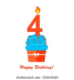 Happy Fourth Birthday Anniversary card with cupcake and candle in flat design style, vector illustration