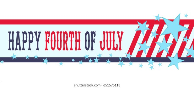 6a3133a2ab6 Happy fourth of July banner with stars and stripes. USA Independence Day  decoration. Happy