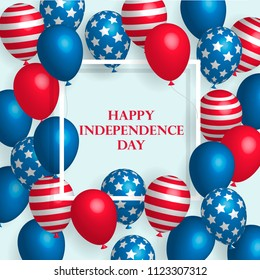 Happy Fourth of July Independence Day Poster with Shiny USA Flag Colored Balloons on White Background with Square Frame. Vector illustration
