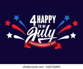 Happy fourth of July Independence day USA  handwritten phrase with stars and firework. Vector lettering illustration.