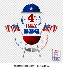 Happy fourth of July. Vector elements BBQ for American Independence Day on transparent background