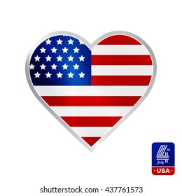Happy fourth of July. Vector emblem in heart shape for American Independence Day on white background