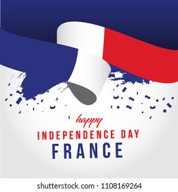 Happy France Independent Day Vector Template Design Illustration