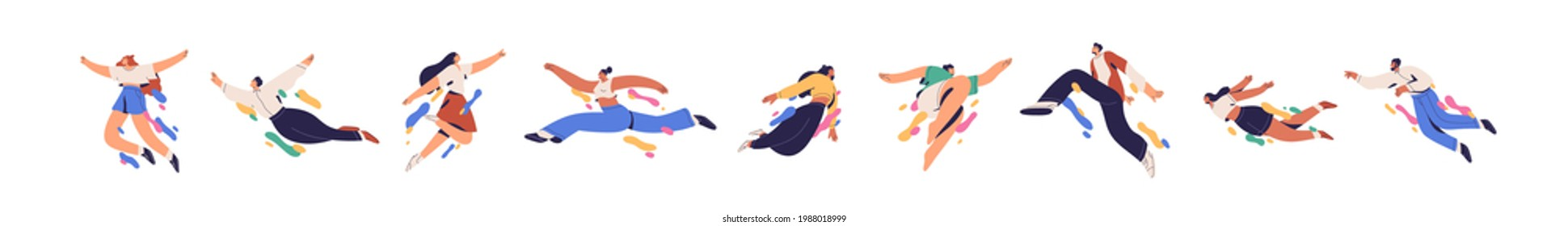 Happy free people flying, floating and jumping in air. Concept of freedom, development and aspirations. Men and women moving forward. Colored flat vector illustration isolated on white background.
