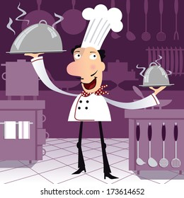 Happy french chef in the kitchen holding two dishes. Cartoon character on purple background.