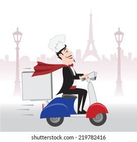 Happy French Chief cook with delicious dish