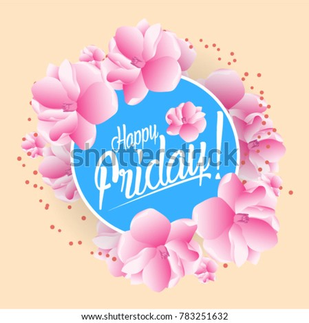 Happy Friday Beautiful Greeting Card Bunch Stock Vector Royalty