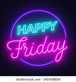 Happy Friday neon sign. Greeting card on dark background. Vector illustration.