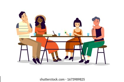 Happy friend spend time together and chat. Man and woman sitting together at the table, eating and chatting. Isolated vector illustration in cartoon style