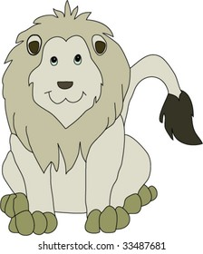 A happy, friendly looking lion, looking straight at the user, with his tail to the right side.