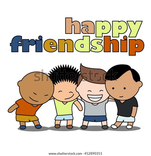 Happy Friends Boys Enjoying Friendship Day Stock Vector Royalty Free 452890351