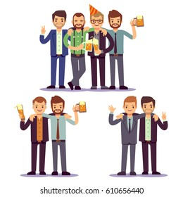 Happy friends, business people at party vector friendly concept. Happiness colleague after work, illustration of business party with colleague.
