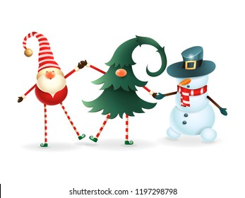 Happy friends celebrate Christmas - Scandinavian gnome, hidden gnome in christmas tree and snowman