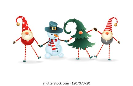 Happy friends celebrate Winter Solstice, Christmas and New Year. Scandinavian gnomes and snowman
