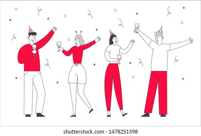Happy Friends or Colleagues Business Managers Team Celebrating Party Holiday in Office. People Hold Champagne Glasses in Hands with Decoration Confetti around. Linear Cartoon Flat Vector Illustration