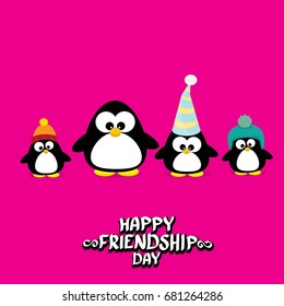 Happy friends day background with funny cartoon penguins. Kids friend background. Friendship day concept illustration
