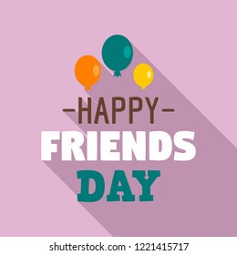 Happy friends day ballon logo. Flat illustration of happy friends day ballon vector logo for web design