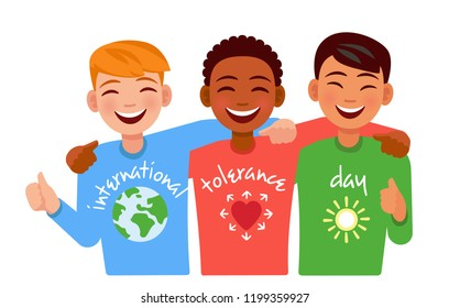 happy friends of different Nations embracing and smiling. international tolerance day.
