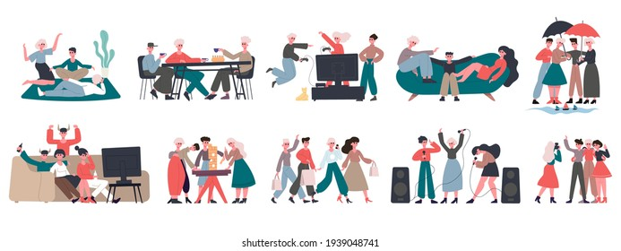 Happy friends. Group of friends characters, enjoy drinking tea, shopping and singing. Cheerful friends hanging out together vector illustration set