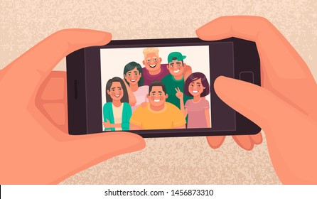 Happy friends guys and girls take a selfie. Photo of young people made on a smartphone. Vector illustration in cartoon style