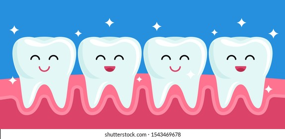 Happy friends healthy teeth are smiling after brushing and whitening. concept of pediatric stomatology. vector illustration