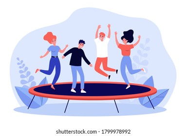 Happy friends leaping and having active fun time in park. Young girls and guys jumping on trampoline. For entertainment, leisure, funny outdoor activity, friendship concept