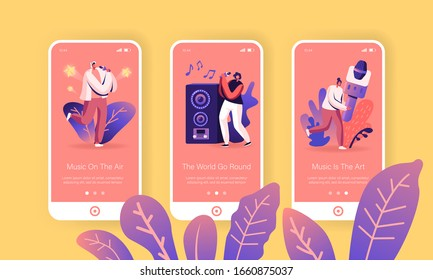 Happy Friends Singing at Karaoke Bar Mobile App Page Onboard Screen Set. Tiny People near Huge Dynamics and Microphone Having Party Concept for Website or Web Page. Cartoon Flat Vector Illustration