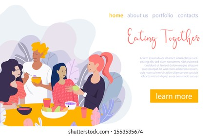 Happy Friends at the table are eating and drinking healthy food and drinks together. Vector illustration in flat style. Landing page template.
