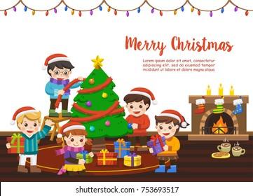 Christmas Festival Scene Drawing.Kids Celebrate Festival Stock Illustrations Images