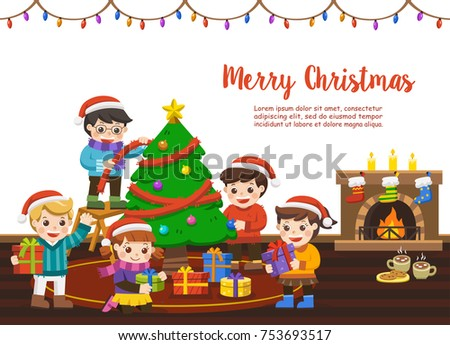 happy friends together celebrating merry christmas scenekids decorating a christmas tree and exchanging