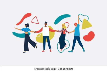 Happy friends walking holding hands with abstract geometric shapes in colorful flat style. Young diverse people group together for social event on isolated background.